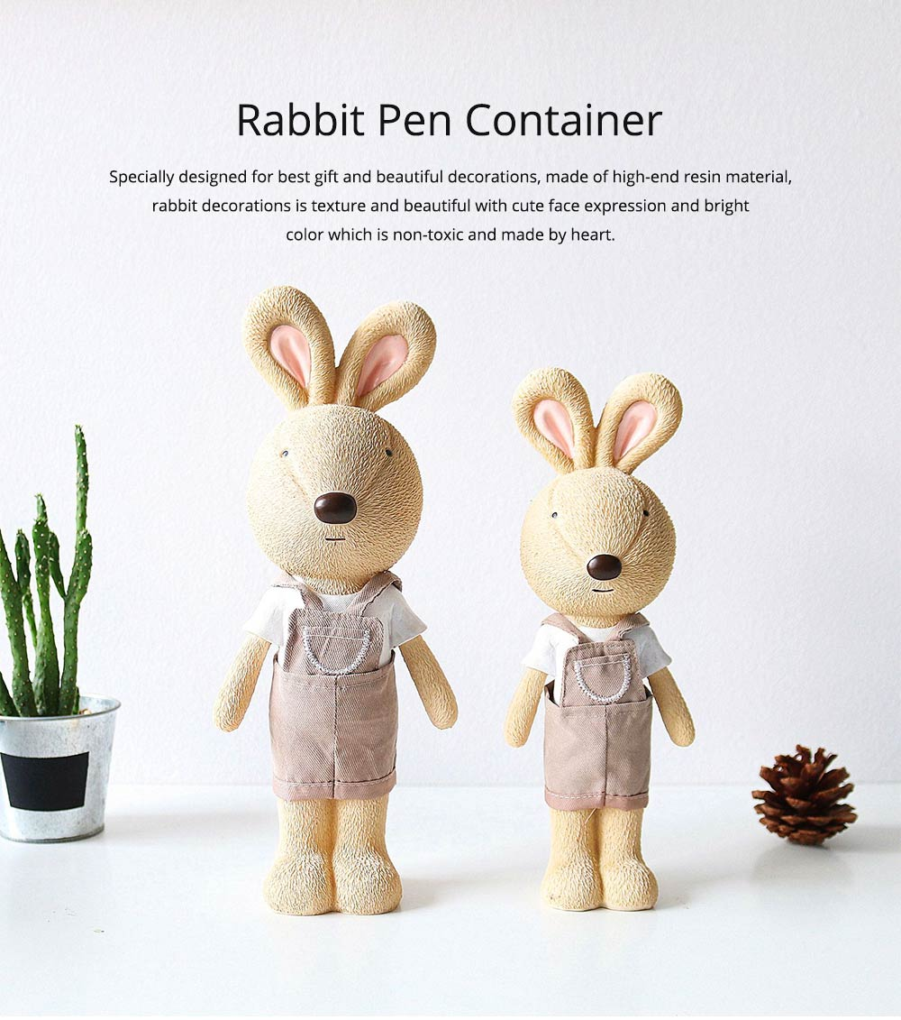 Little Pure Resin Rabbit Pen Container with Bright Color & Cute Face Expression for Crafts, Couple Gifts Rabbit Creative Decorations, Birthday Gifts 0
