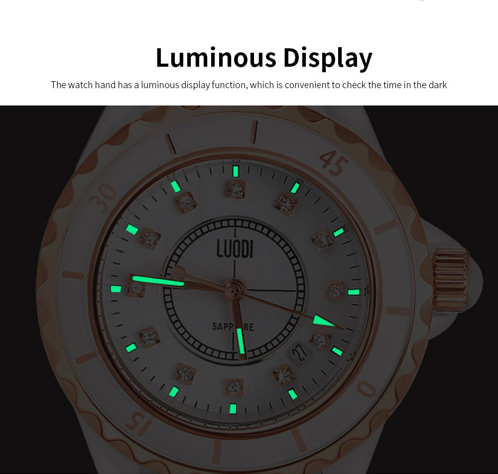Genuine White Ceramic Band Quartz Watch for Women Fashion Luminous Waterproof 30m Imported Movement Couple Wristwatch 1