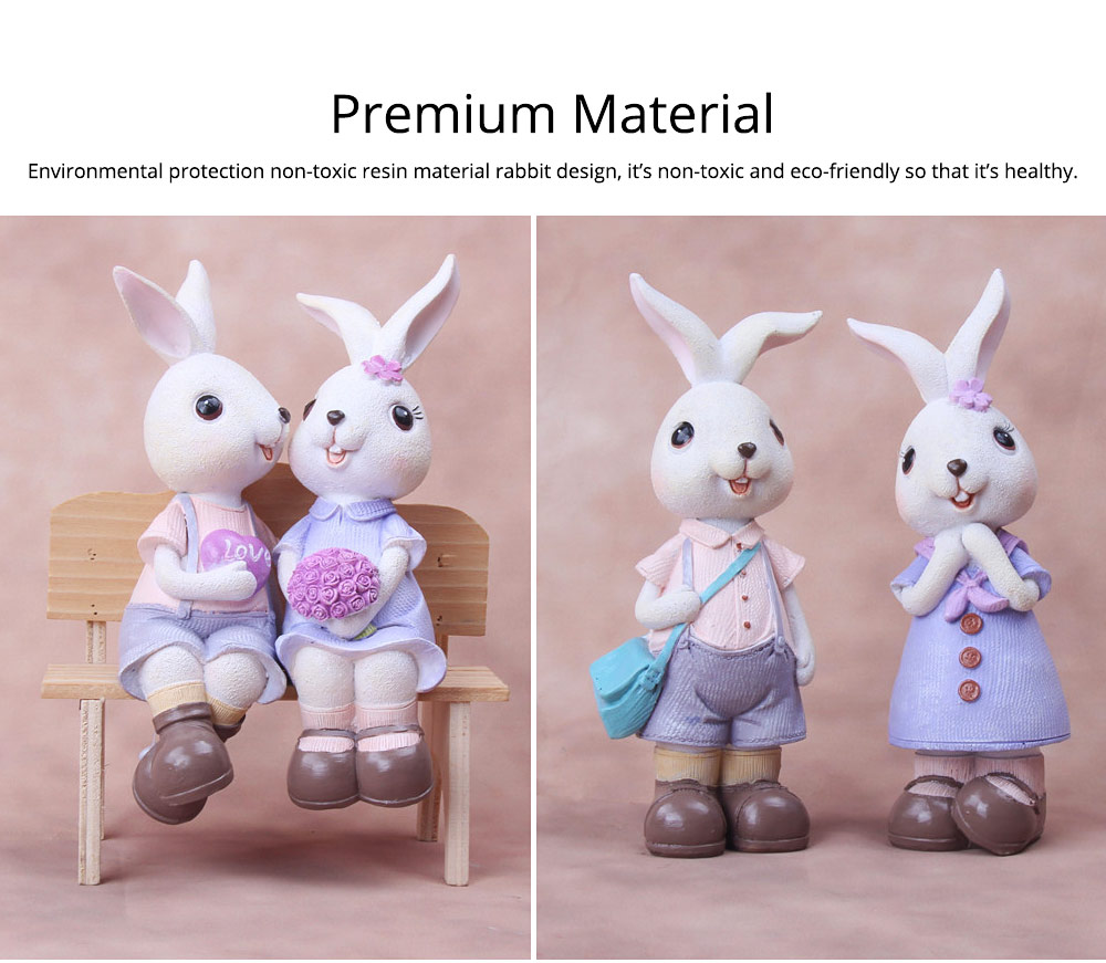 Little Pure Resin Rabbit with Bright Color & Cute Face Expression for Crafts, Couple Gifts Rabbit Creative Decorations, Birthday Gifts 1