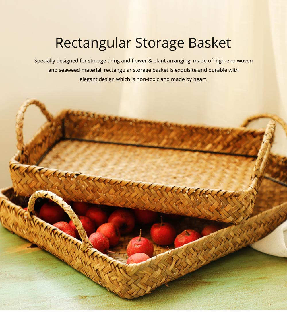 Hand Woven Fruit Tray Straw Tray Rectangular Storage Basket, Portable Seaweed Carrying Basket for Household Use 0