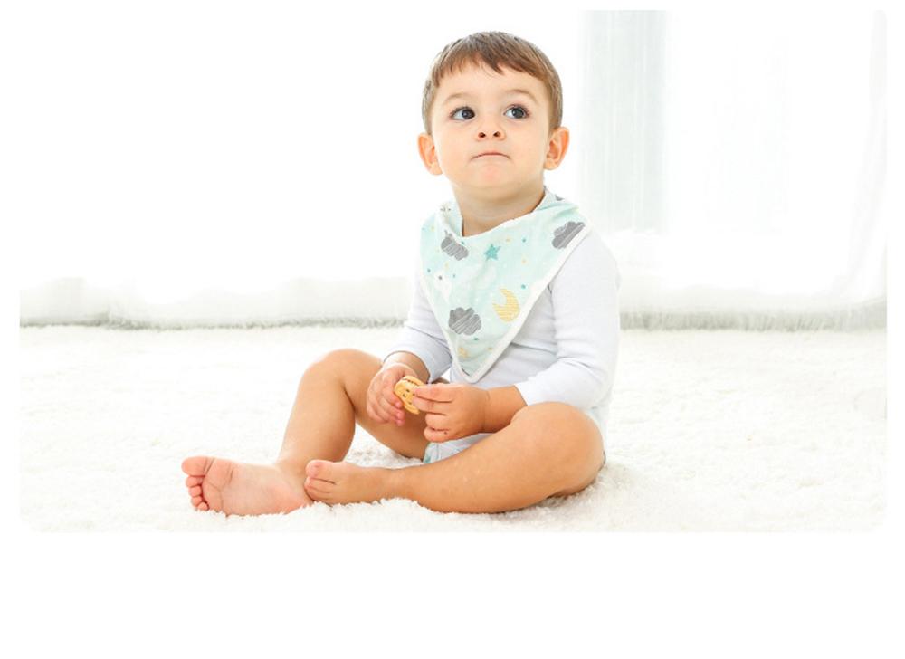 Baby Cotton Gauze Saliva Towel with Dark Buckle Design & Ultra-soft Bag Edge Design, Baby Bib with Cute Cartoon Design 7