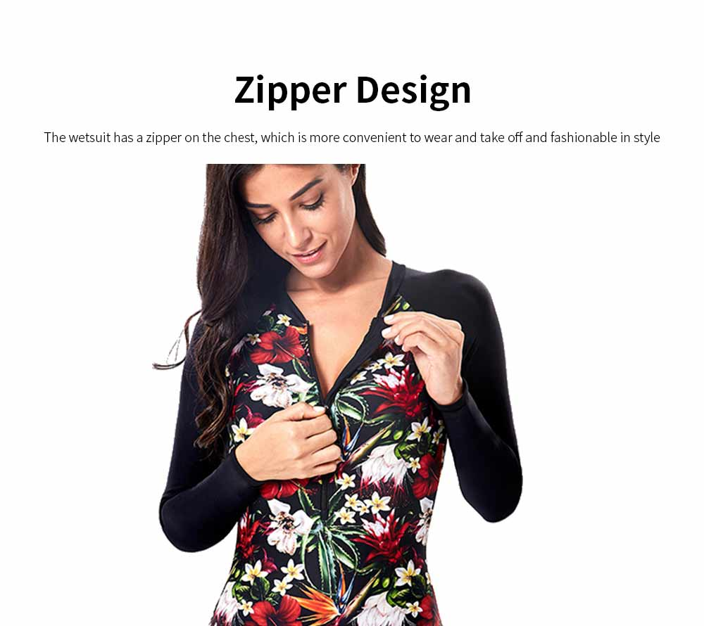 One Piece Wetsuit for Women Long Sleeve Zipper Europe and America Style Fashion Printing Briefs Swimsuit 2