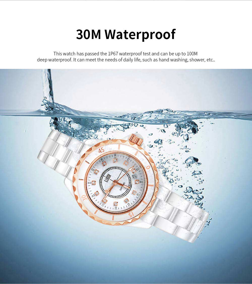 Genuine White Ceramic Band Quartz Watch for Women Fashion Luminous Waterproof 30m Imported Movement Couple Wristwatch 2