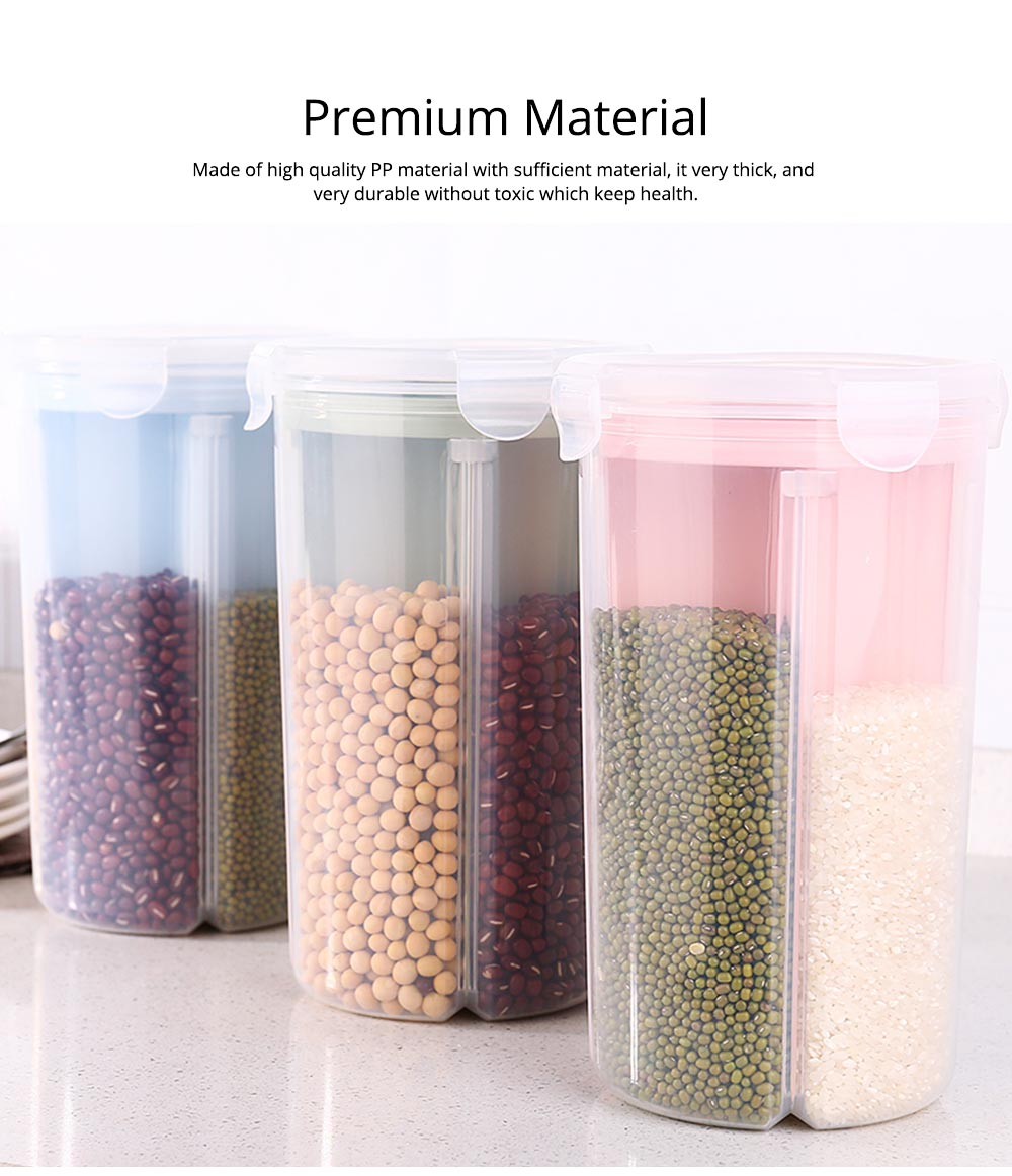 Multi-purpose Storage Convenient Transparent Four-compartment Sealed Grain Jar with Grid Classification Design 1