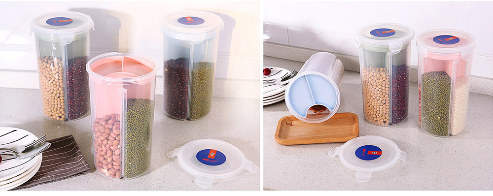 Multi-purpose Storage Convenient Transparent Four-compartment Sealed Grain Jar with Grid Classification Design 6
