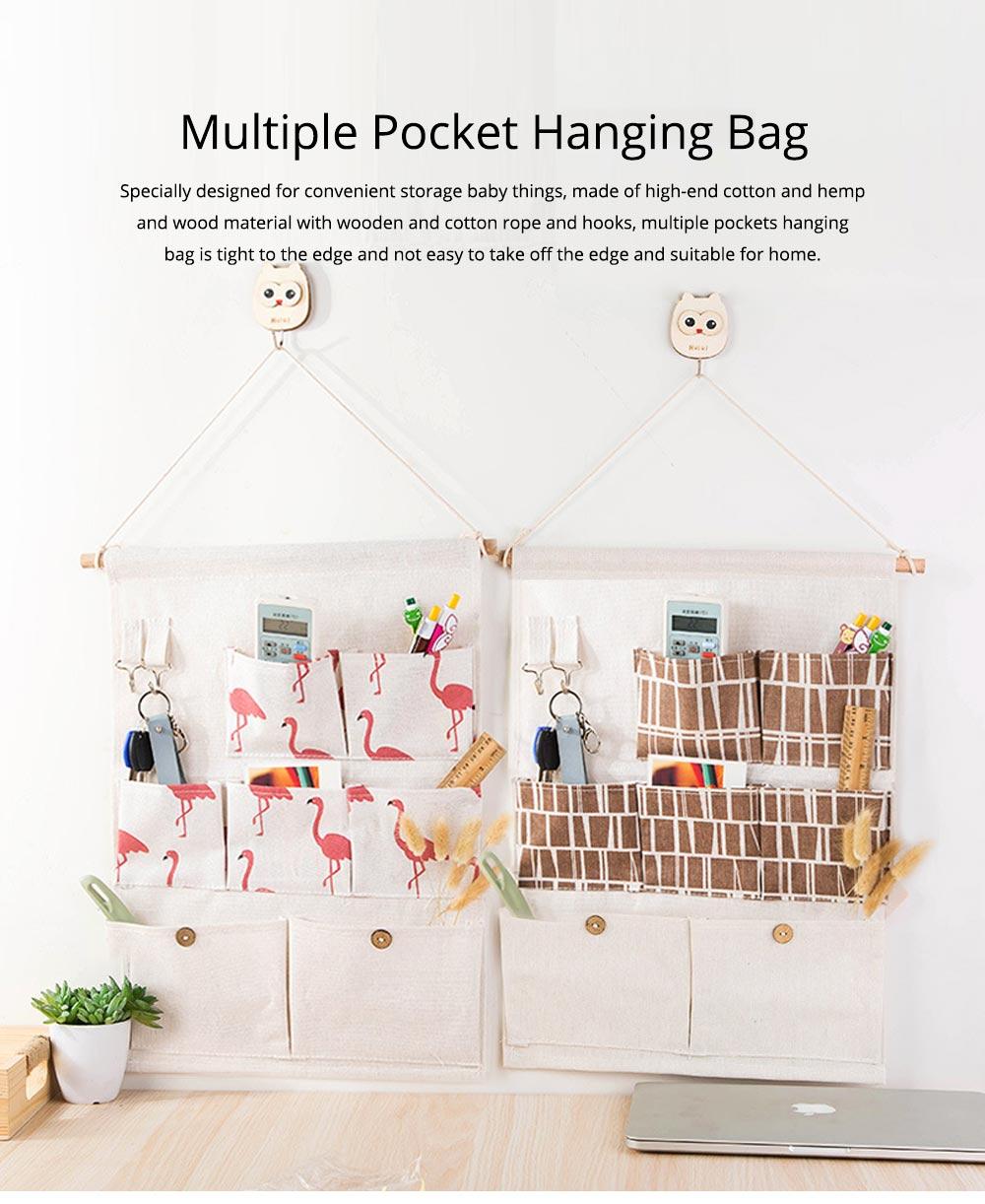 Printed Multiple Pocket Hanging Bag Wall Hanging Bag with Wooden Stick & Cotton Rope Design Storage Bag 0