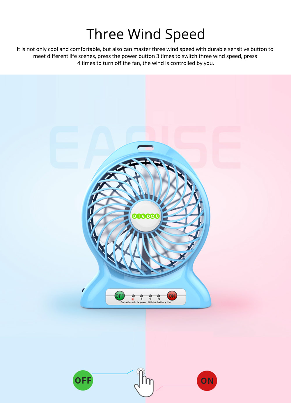 Silent USB Mini Fan with Three Wind Speed, Outdoor Portable Hand Held Mini Fan with Large Capacity Charging 2