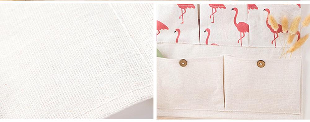 Printed Multiple Pocket Hanging Bag Wall Hanging Bag with Wooden Stick & Cotton Rope Design Storage Bag 2