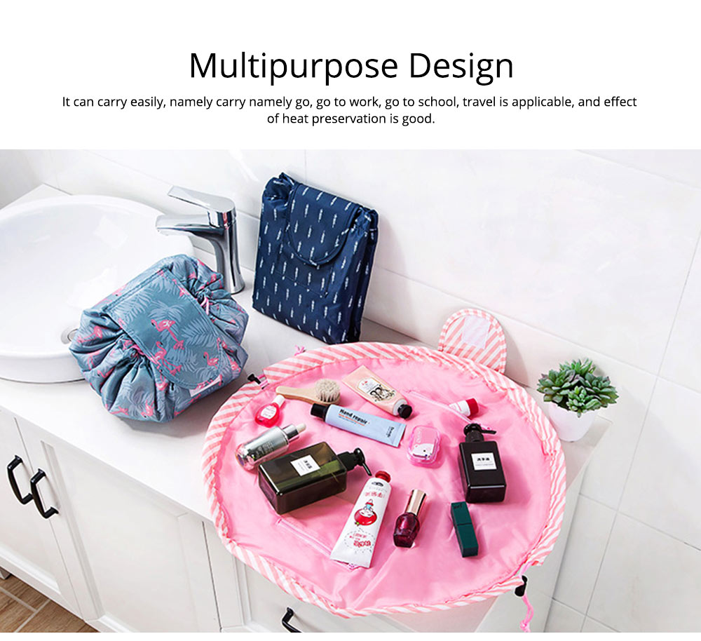 Waterproof Lazy People Cosmetic Storage Bag with Inside Zipper Pocket or Small Beauty Tools, Rollers, Eyebrow Clippers, etc. 6