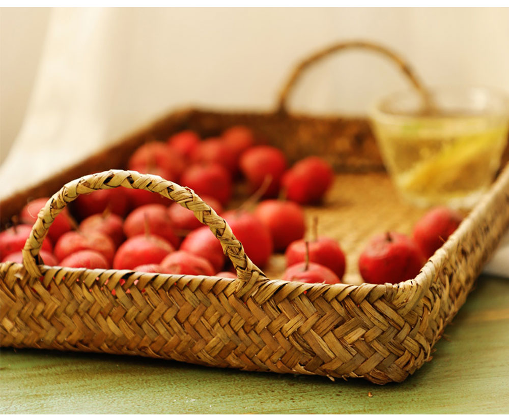 Hand Woven Fruit Tray Straw Tray Rectangular Storage Basket, Portable Seaweed Carrying Basket for Household Use 2