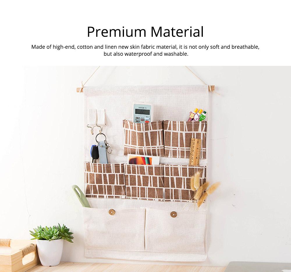 Printed Multiple Pocket Hanging Bag Wall Hanging Bag with Wooden Stick & Cotton Rope Design Storage Bag 1