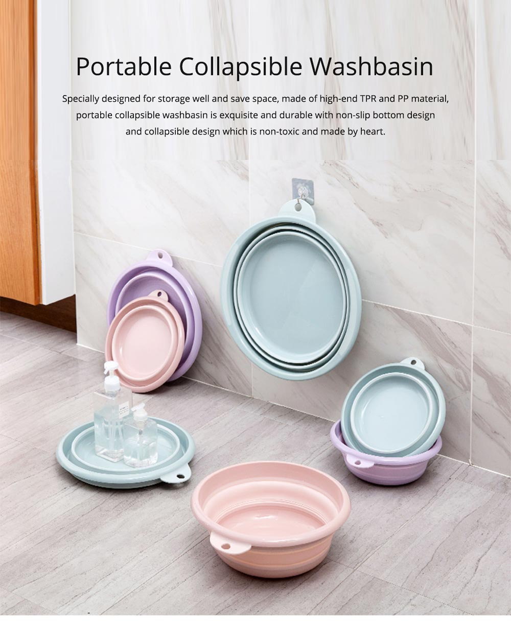 Portable Collapsible Washbasin with Anti-skid bottom Design for Easy Travel & Space-saving Washbasin with Hanging Hole 0