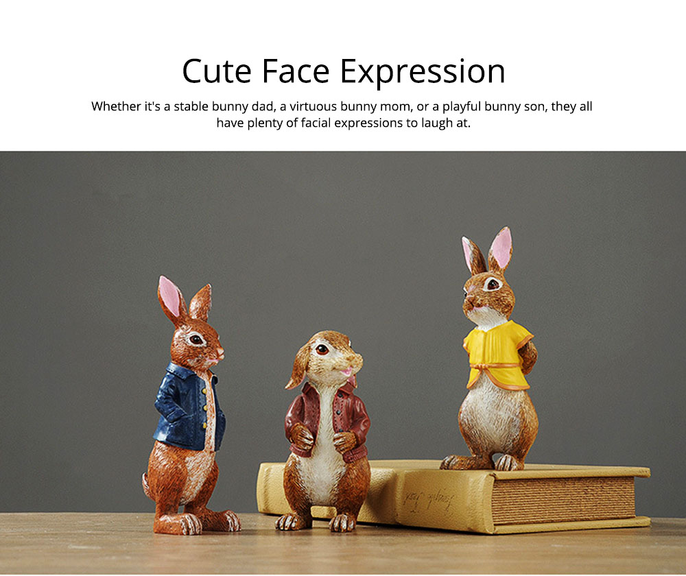 A Family of Three Rabbits with Bright Color & Cute Face Expression for Crafts, Couple Gifts Rabbit Creative Decorations, Birthday Gifts 5
