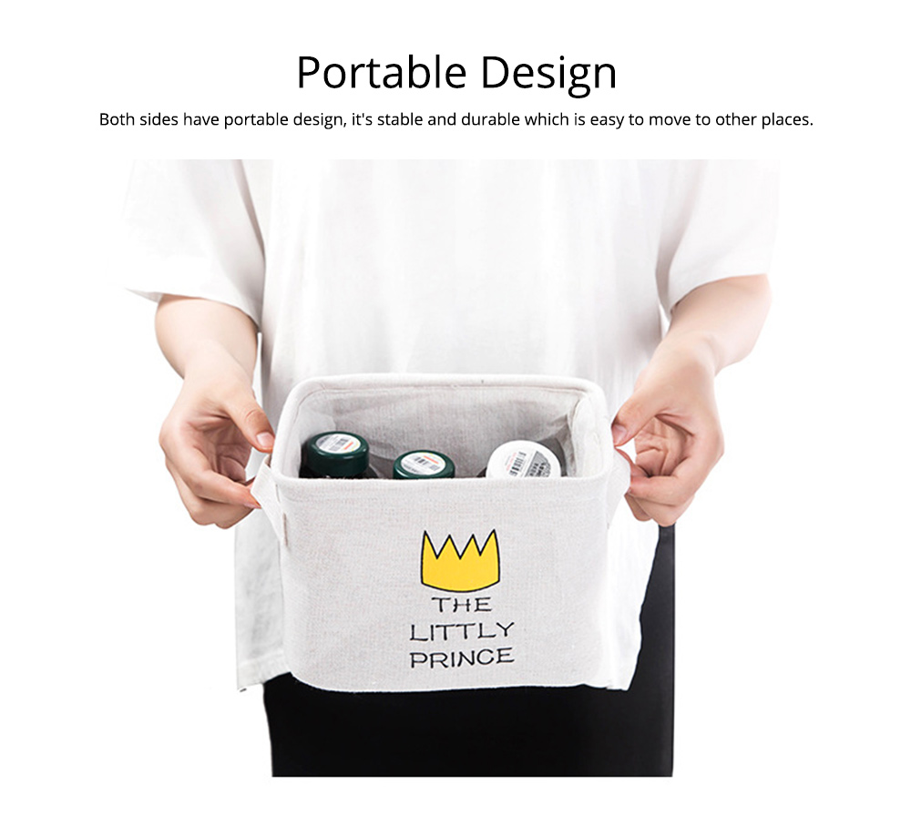 Cartoon Cotton & Linen Household Bedroom Storage Box Storage Basket with Double Handle for Magazine, Toys, Snacks 7
