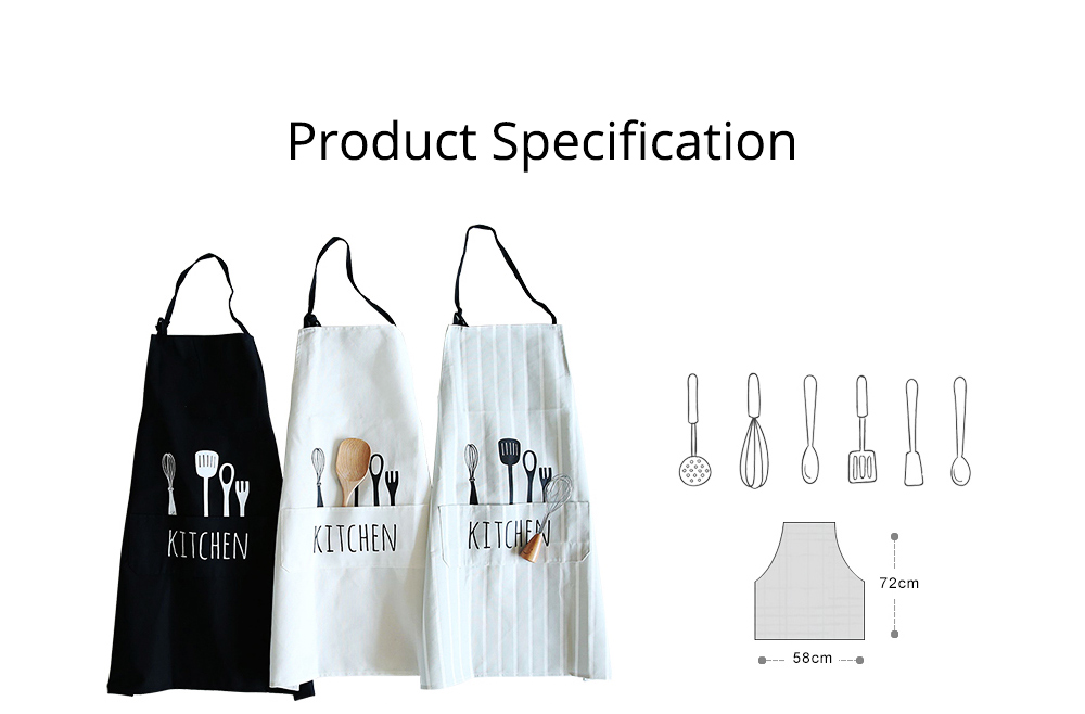 Creative Cotton Cutlery Pattern Apron with Adjustable 3 Pockets Design for Professional for BBQ, Baking, Cooking for Men & Women 7