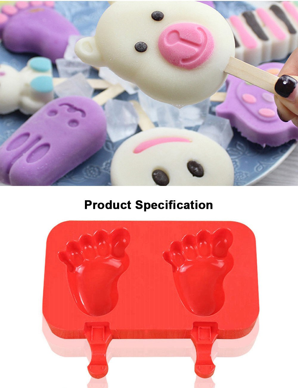 Silicone DIY Cartoon Ice Cream Mould, Popsicles Mould Set, 2pcs 3pcs Homemade Ice Cream Set, DIY Ice Cream Mold Maker 5