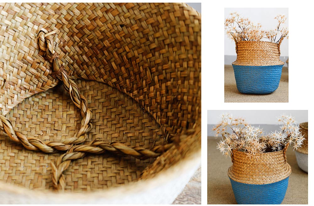 Straw Plait Collapsible Storage Basket to Contain Handle, Green Plant Flower Basket Flower Implement Rattan Woven Home Goods Basket 3