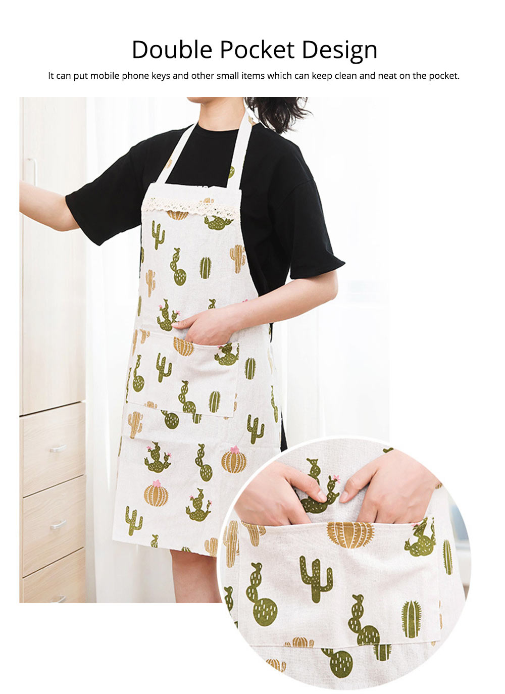 Cotton & Linen Fabric Art Apron with Fresh Pattern & Waterproof & Oil-proof for BBQ, Baking, Cooking for Men & Women 3