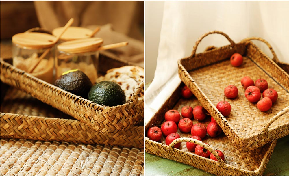 Hand Woven Fruit Tray Straw Tray Rectangular Storage Basket, Portable Seaweed Carrying Basket for Household Use 6