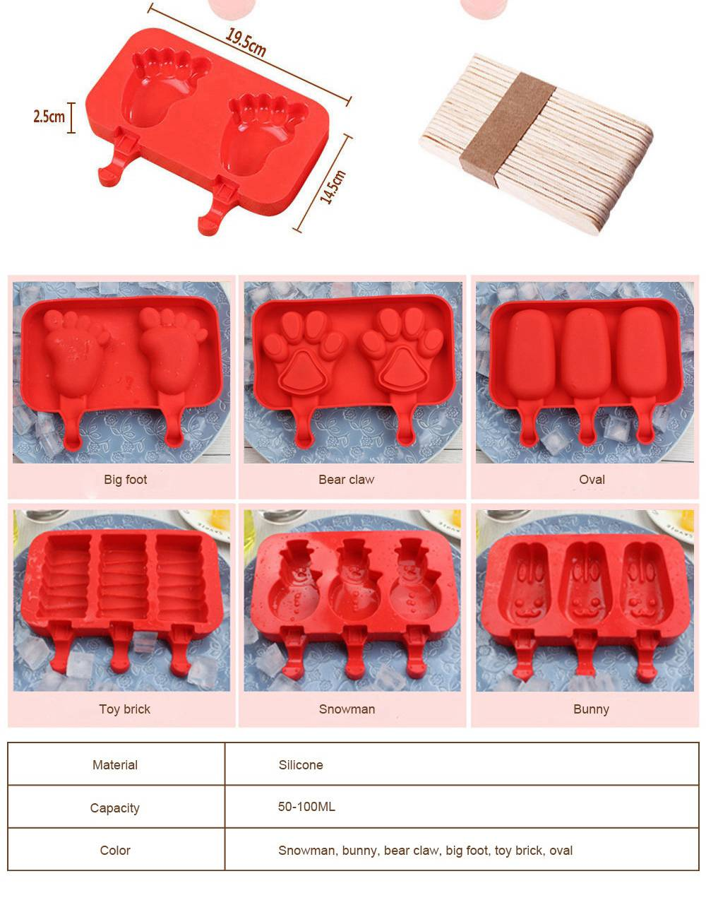 Silicone DIY Cartoon Ice Cream Mould, Popsicles Mould Set, 2pcs 3pcs Homemade Ice Cream Set, DIY Ice Cream Mold Maker 6