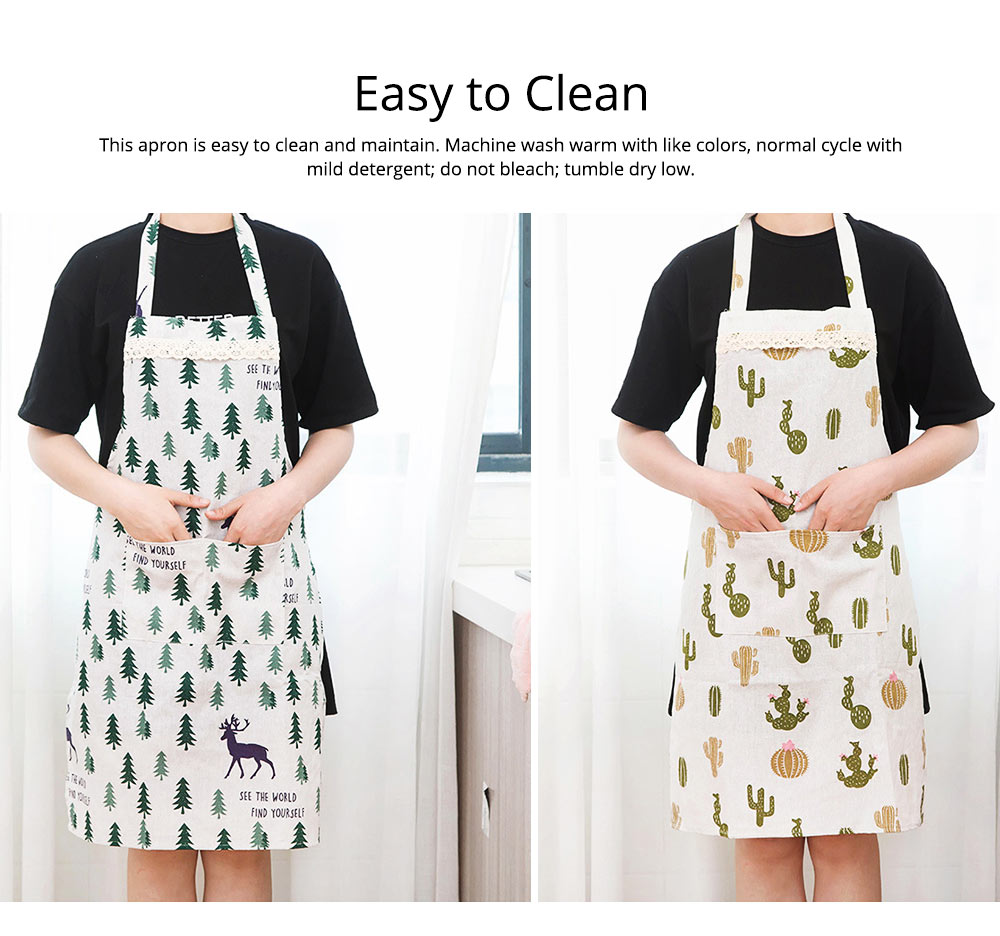Cotton & Linen Fabric Art Apron with Fresh Pattern & Waterproof & Oil-proof for BBQ, Baking, Cooking for Men & Women 6