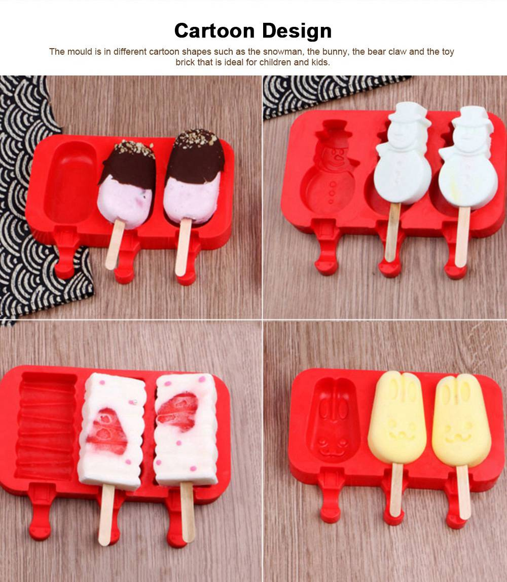 Silicone DIY Cartoon Ice Cream Mould, Popsicles Mould Set, 2pcs 3pcs Homemade Ice Cream Set, DIY Ice Cream Mold Maker 4