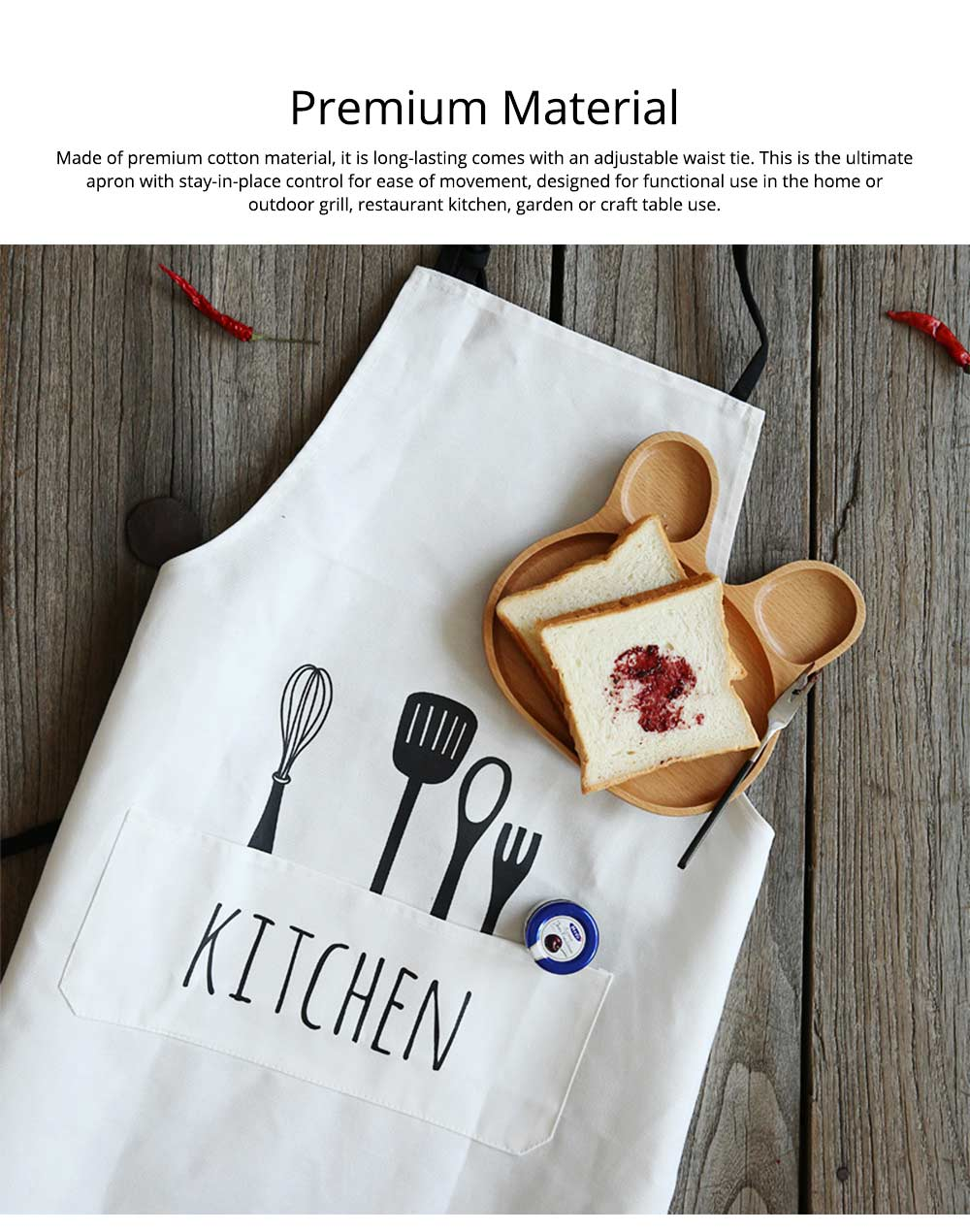 Creative Cotton Cutlery Pattern Apron with Adjustable 3 Pockets Design for Professional for BBQ, Baking, Cooking for Men & Women 1