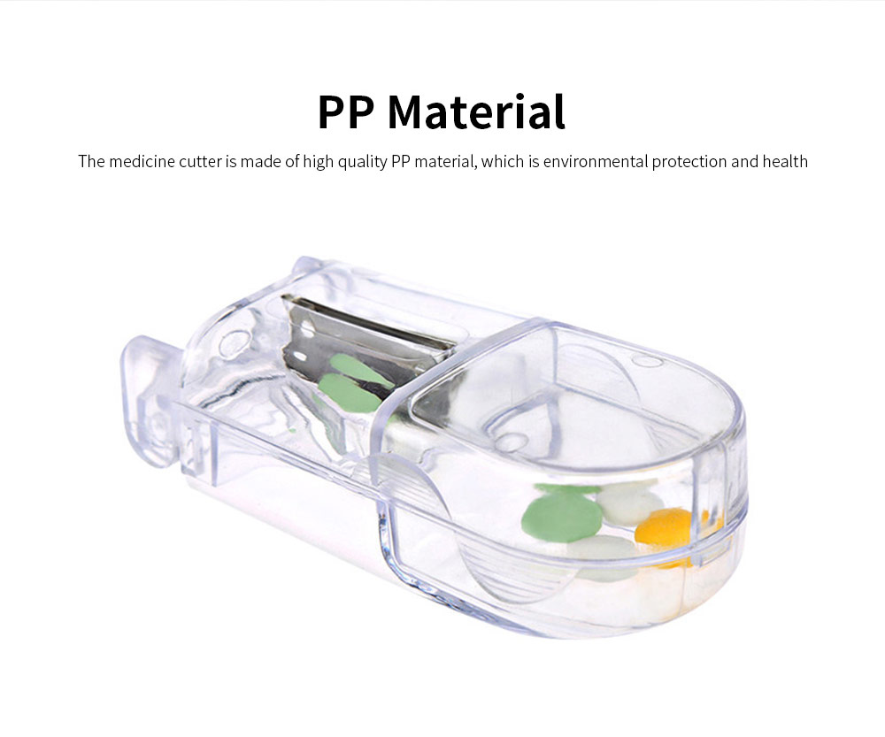 Medicine Cutter PP Portable Tablet Storage Case Transparent Splitter Half Compartment Box Pill Crusher Divider 1