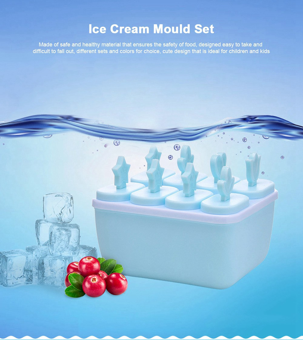 DIY Ice Cream Popsicles Mould Set, 6pcs 8pcs Homemade Ice Cream Set, DIY Safe Ice Cream Mold Maker Hollow Design 0