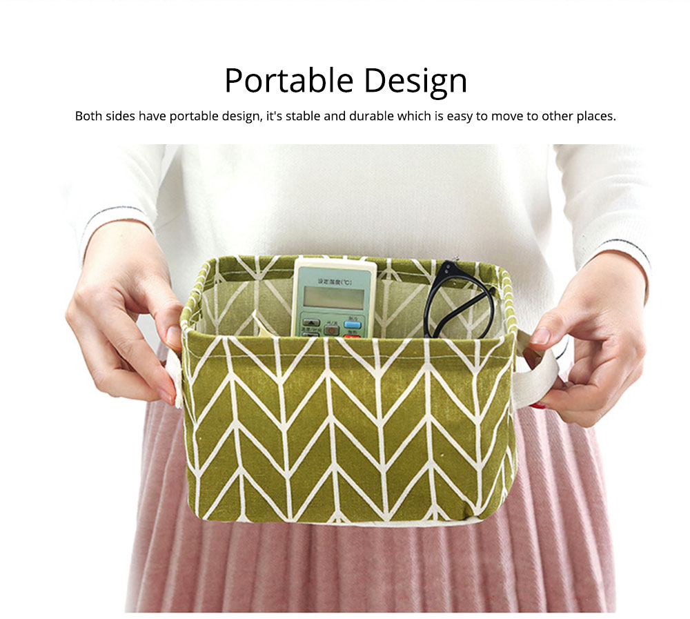 Strong Durable Fresh & Elegant Cotton Linen Storage Basket with Double Handle for Magazine, Toys, Snacks 5