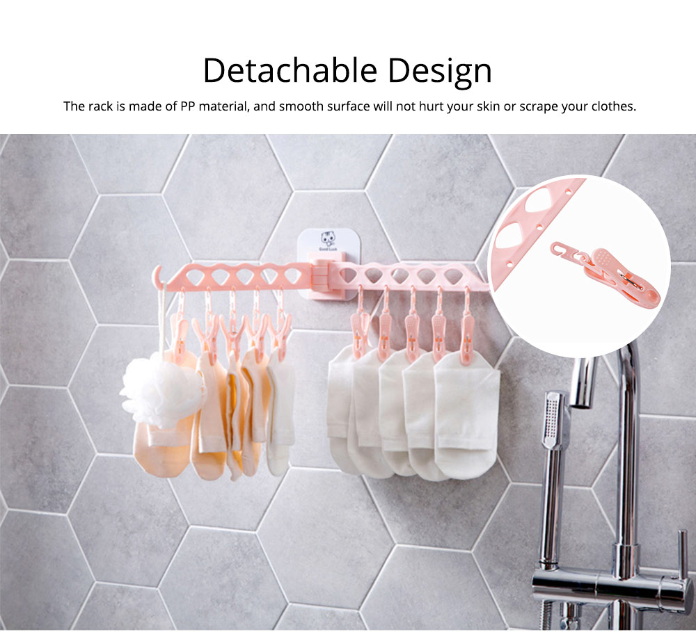 Collapsible Clothes Rack with 10 +2 Clip & Multiple Angle Rotation Design for Drying Underwear, Socks, Towels 3