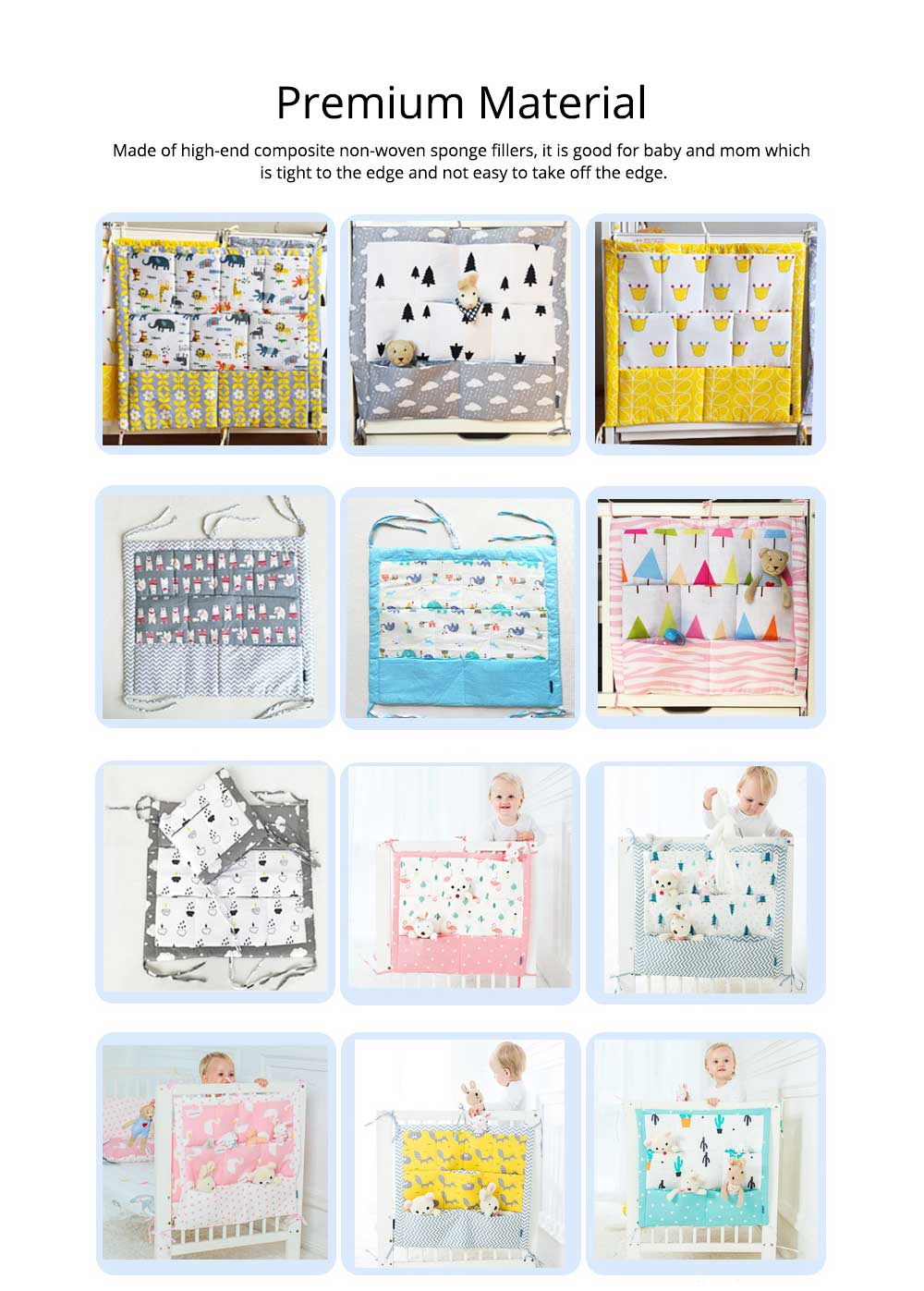 Multi-layer Cotton Cot Storage Bag Cartoon Multi-function Bed Baby Diaper Storage Bag 1