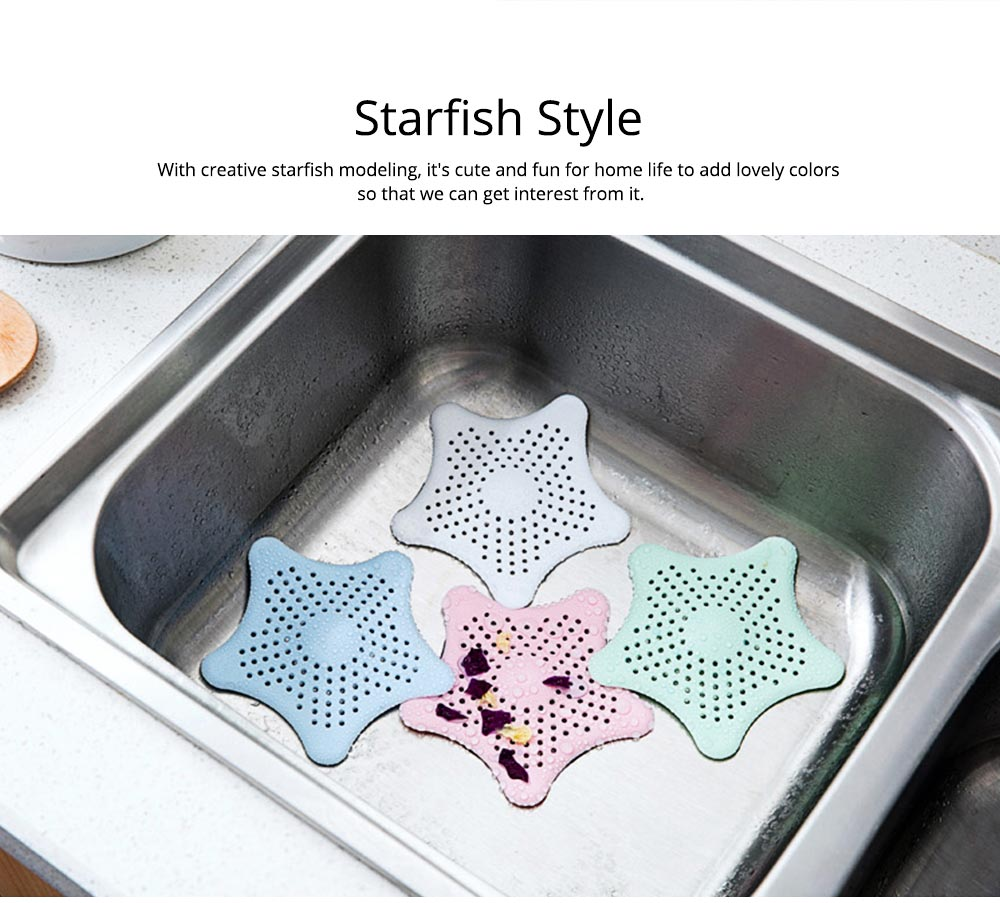 Starfish Shaped Sucker Floor Drain Cover with Strong Sucker Design & Dense Hole, Leaky Sink Cover Prevent Leakage & Stink Proof 4