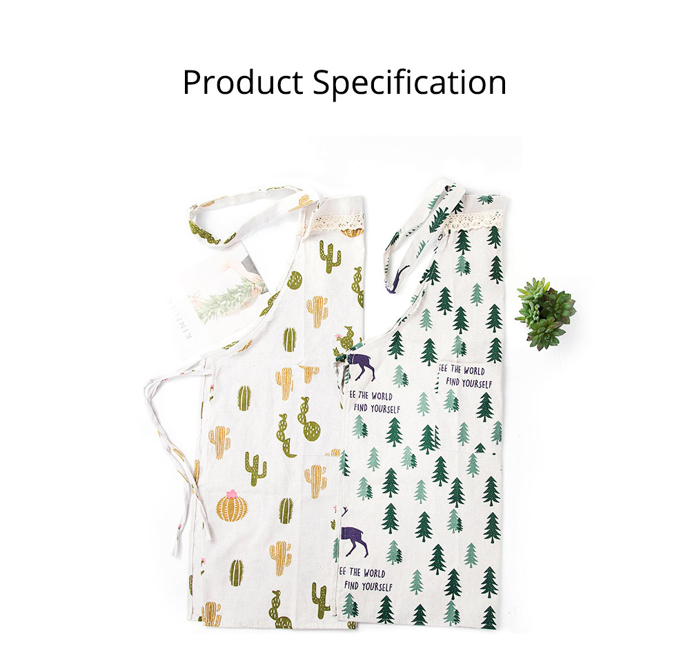 Cotton & Linen Fabric Art Apron with Fresh Pattern & Waterproof & Oil-proof for BBQ, Baking, Cooking for Men & Women 7
