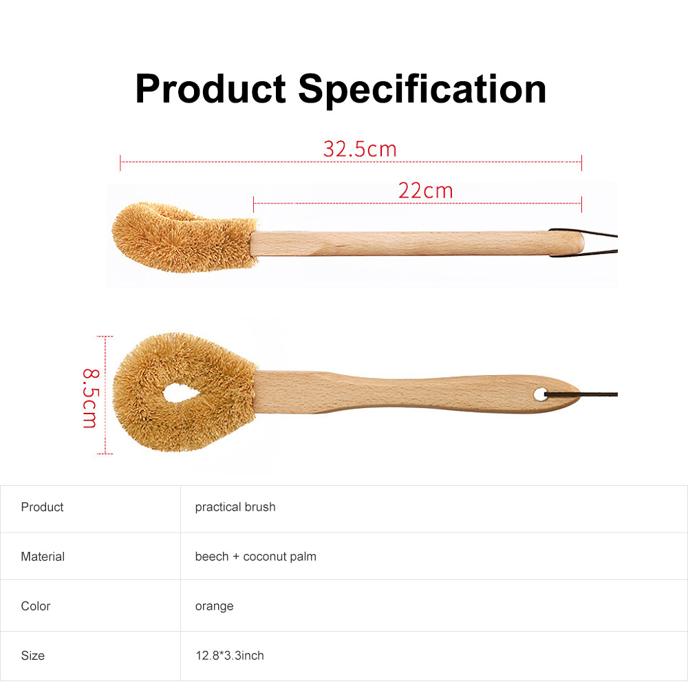 Kitchen Long Handle Brush, Household Practical Brush for Washing Pot, High-quality Natural Coir Cleaning Brush 5