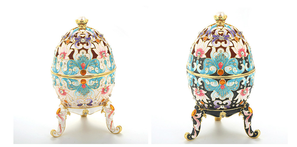 Diamond-inlaid Large-sized Colored Eggs for Jewelry Boxes, Luxury Ornaments, Metal Crafts Gifts 4