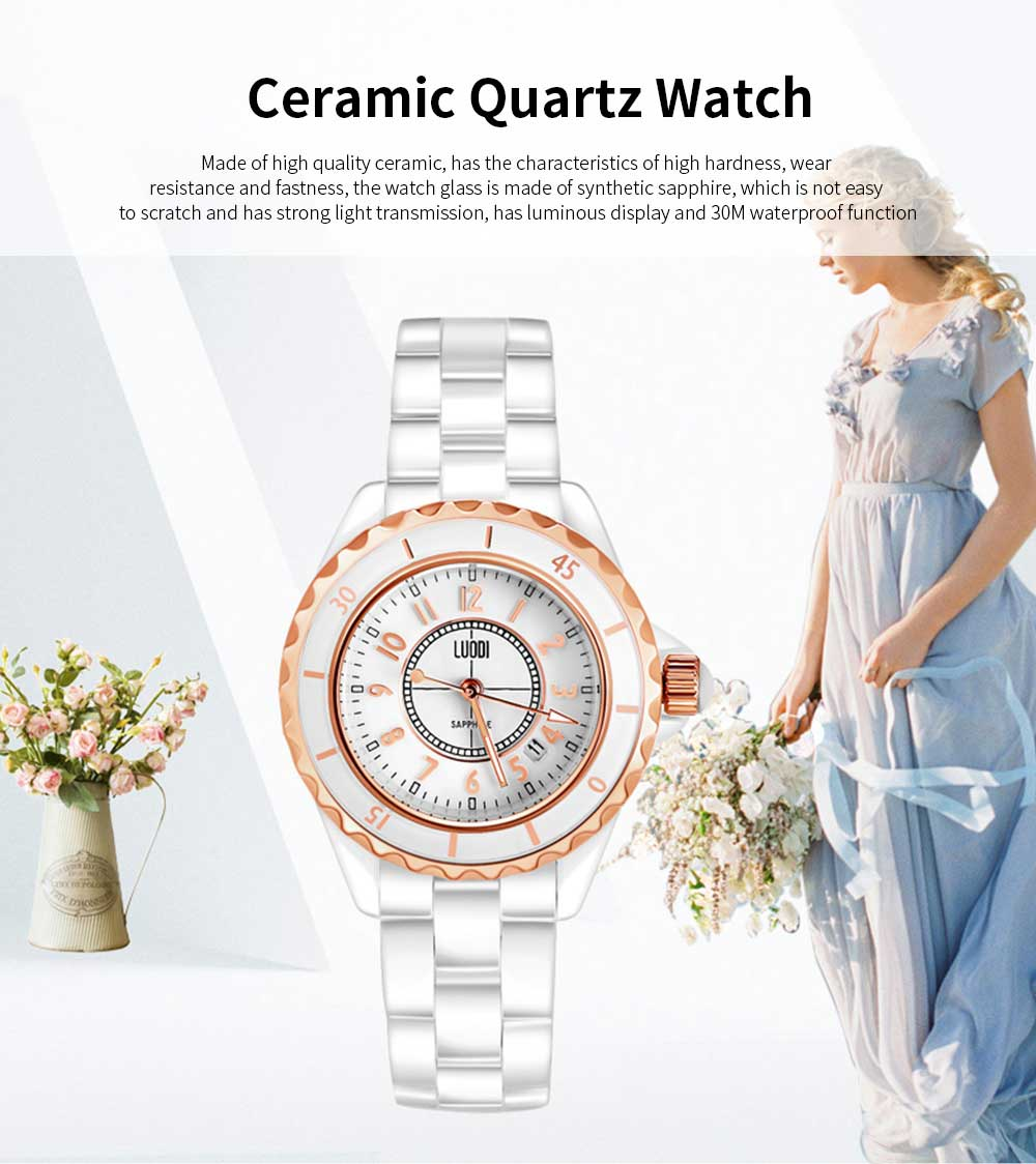 Genuine White Ceramic Band Quartz Watch for Women Fashion Luminous Waterproof 30m Imported Movement Couple Wristwatch 0