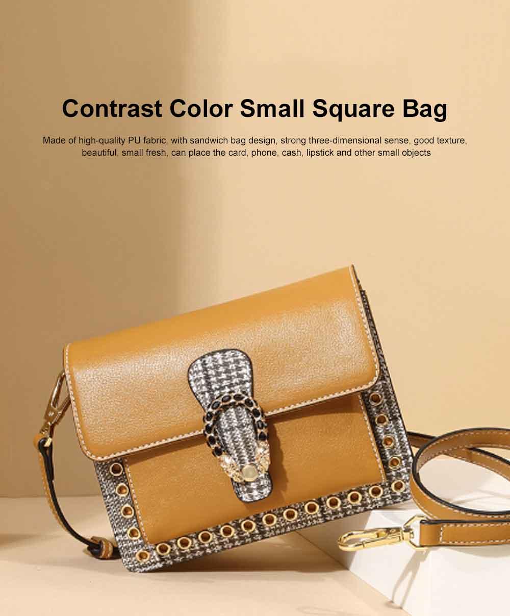 Contrast Color Small Square Bag, Fashion Handbag Shoulder Slung Bag for Female, Summer 2019 0