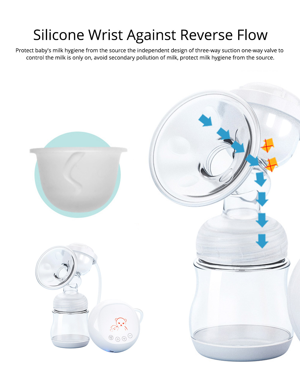 Electric Breast Pump With Silicone Wrist & Twelve Level Suction Adjustment, Silent Automatic Massage Breast Pump 3