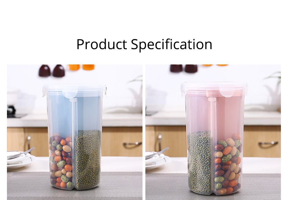 Multi-purpose Storage Convenient Transparent Four-compartment Sealed Grain Jar with Grid Classification Design 10
