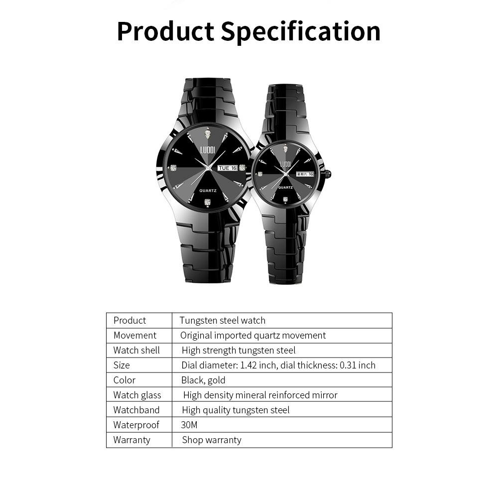 Tungsten Steel Watch for Men Fashion Cool Black Quartz Movement Waterproof 3D Watch Case WristWatch Stylish Couple Watches 6