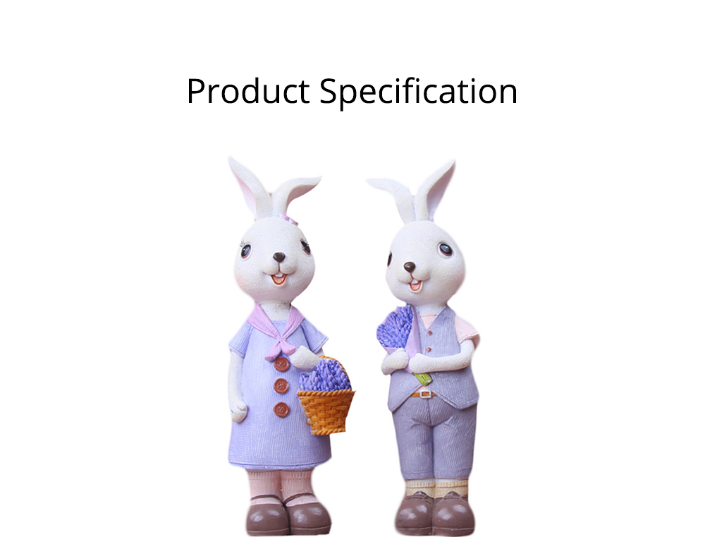 Little Pure Resin Rabbit with Bright Color & Cute Face Expression for Crafts, Couple Gifts Rabbit Creative Decorations, Birthday Gifts 5