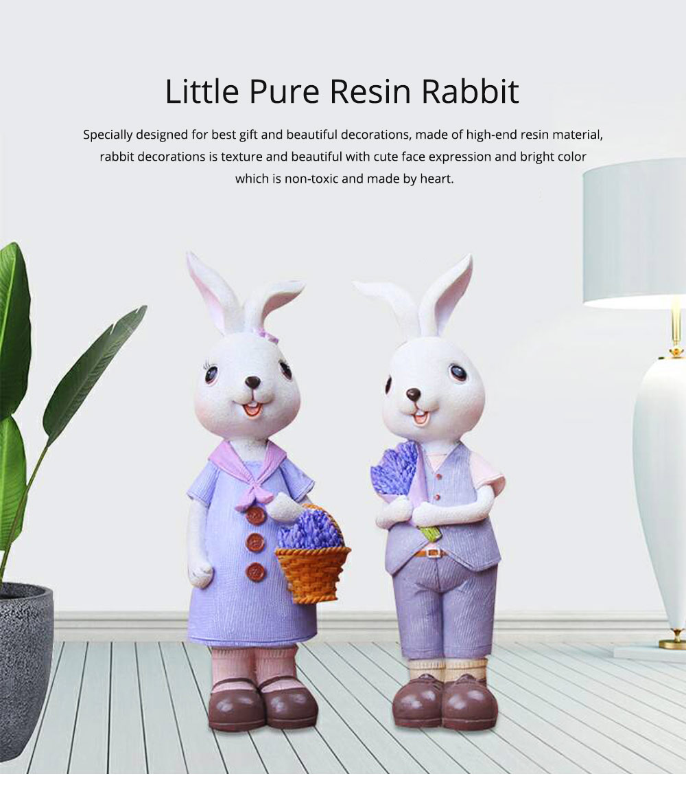 Little Pure Resin Rabbit with Bright Color & Cute Face Expression for Crafts, Couple Gifts Rabbit Creative Decorations, Birthday Gifts 0