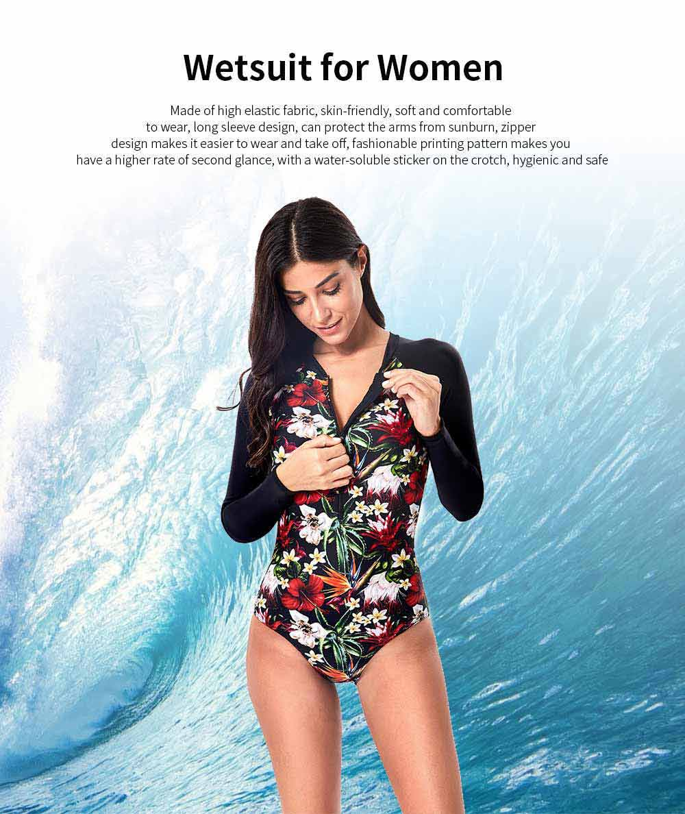One Piece Wetsuit for Women Long Sleeve Zipper Europe and America Style Fashion Printing Briefs Swimsuit 0
