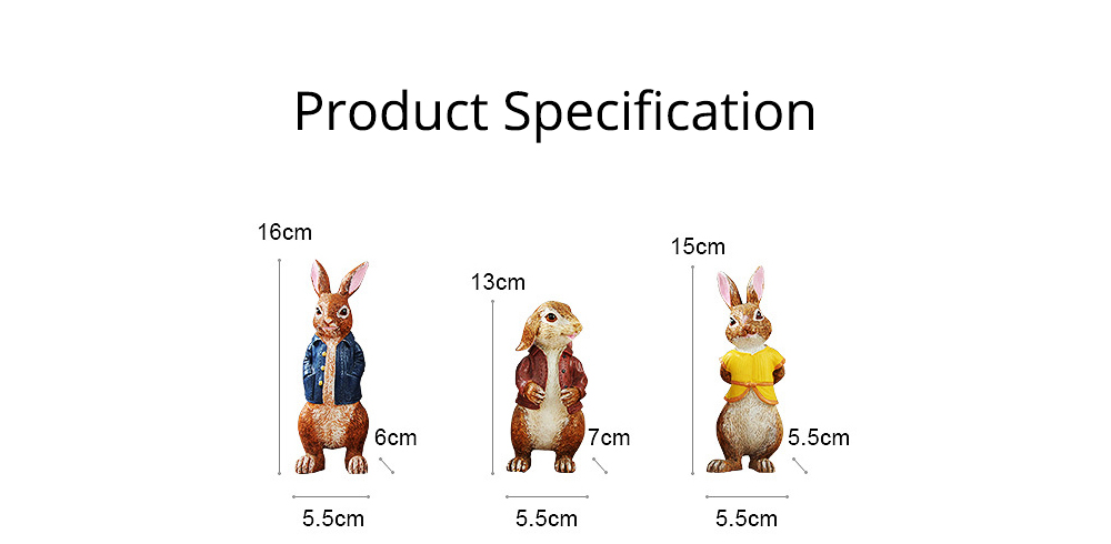A Family of Three Rabbits with Bright Color & Cute Face Expression for Crafts, Couple Gifts Rabbit Creative Decorations, Birthday Gifts 7
