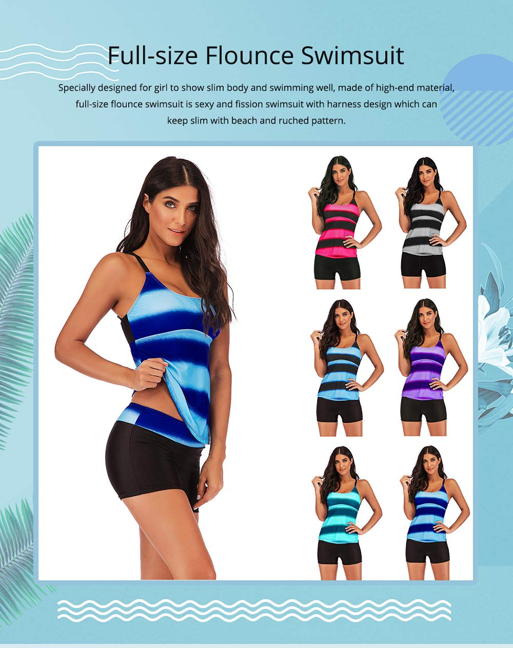 Full-size Flounce Swimsuit Digital Print Fission Swimsuit Slimming, Straps Slimming Swimsuit with Various Style 0