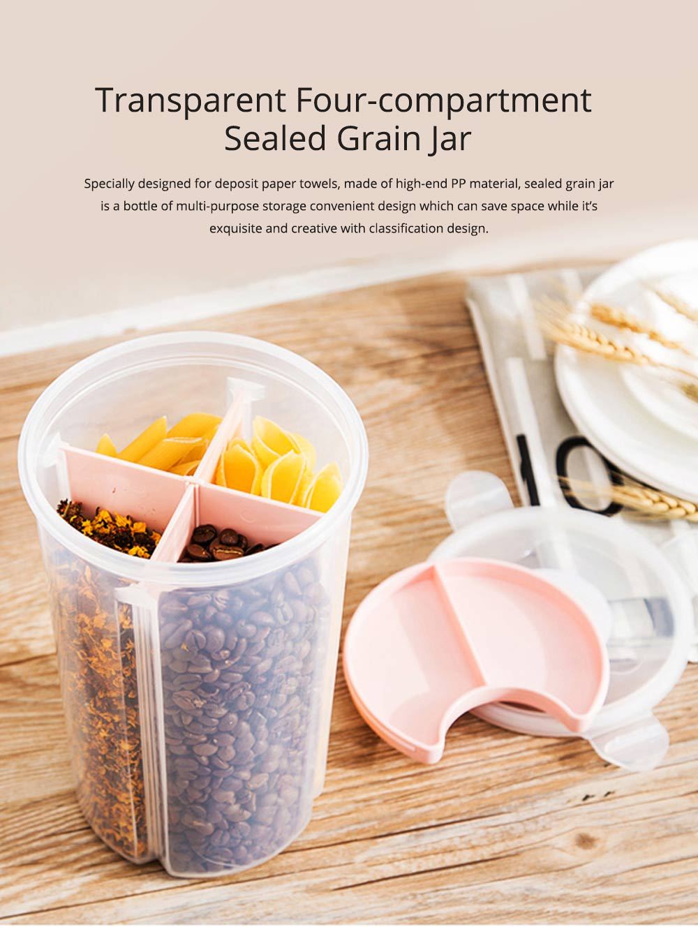 Multi-purpose Storage Convenient Transparent Four-compartment Sealed Grain Jar with Grid Classification Design 0