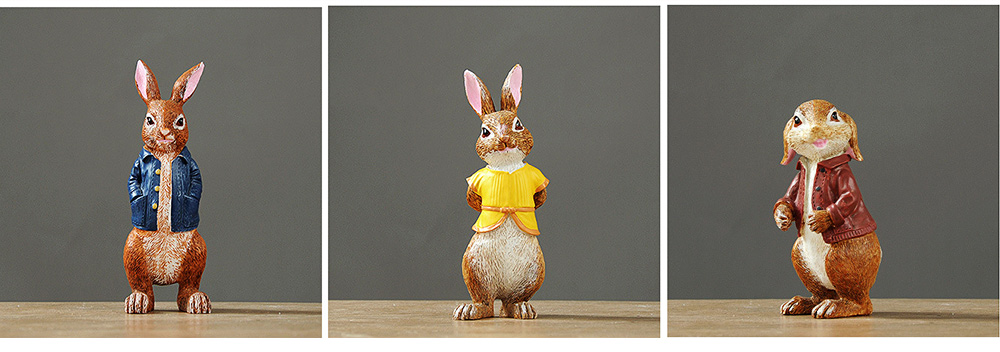 A Family of Three Rabbits with Bright Color & Cute Face Expression for Crafts, Couple Gifts Rabbit Creative Decorations, Birthday Gifts 2