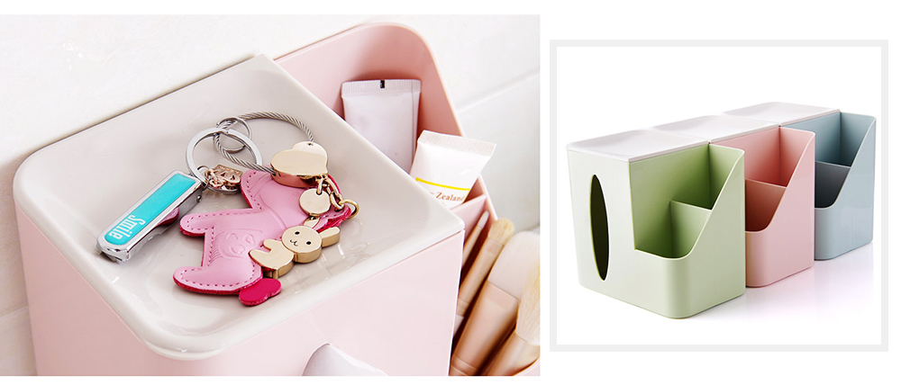 Multifunctional Tissue Box with Multiple Cell & Top Concave Design, Non-skid and Non-abrasive Bottom Pad Tissue Box 2