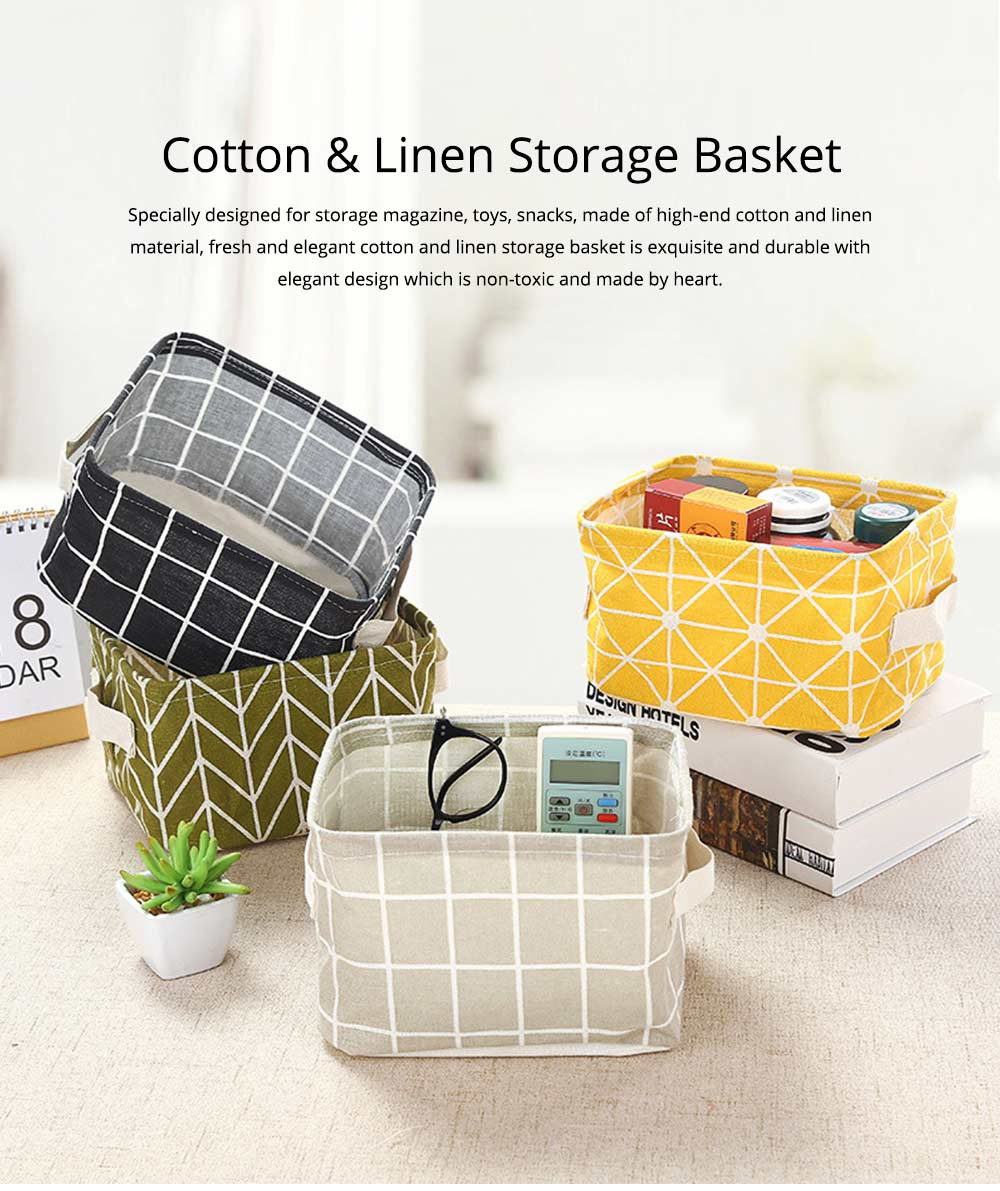 Strong Durable Fresh & Elegant Cotton Linen Storage Basket with Double Handle for Magazine, Toys, Snacks 0